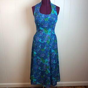 Vintage 90s Blue Purple Floral Maxi Dress